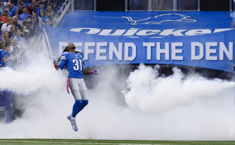 Detroit Lions cornerback Rashean Mathis (31) during player introductions prior to an NFL football game against the Arizona Cardinals at Ford Field in Detroit, Sunday, Oct. 11, 2015. (AP Photo/Rick Osentoski)